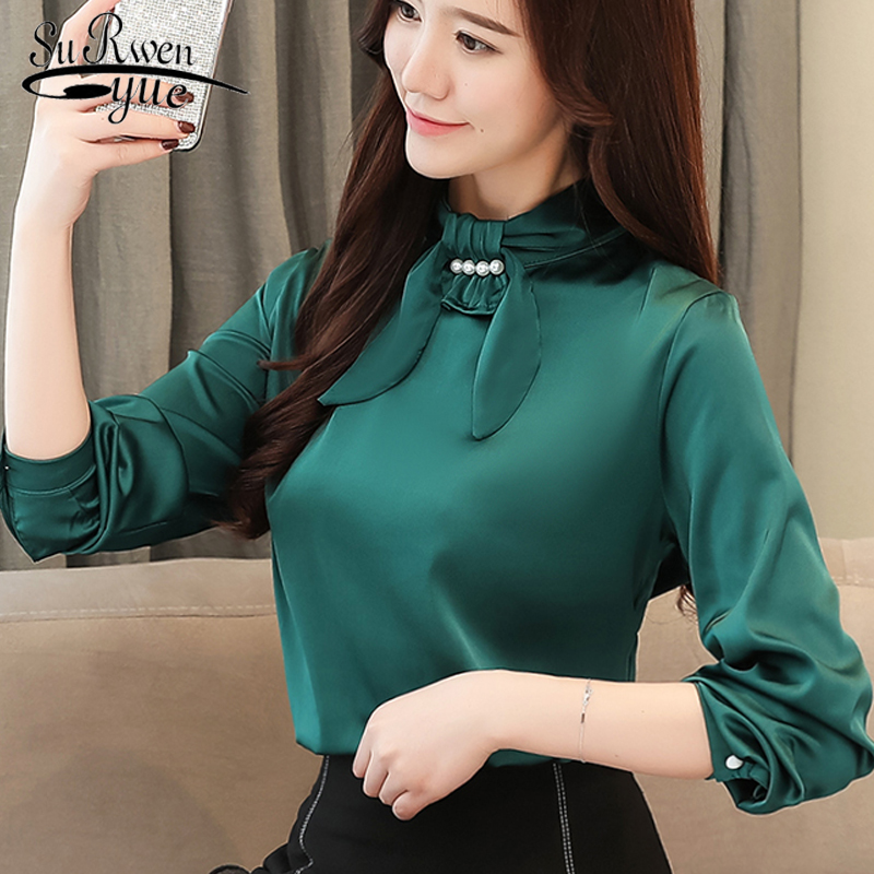 Manga Las Mujeres Nueva Seda Negro De Y 2018 1435 Mujer Ropa Otoño Corea 45 Camisa Primavera Moda Slim rojo Fit verde Larga Blusa Blusas Trabajo w8zqYXqx