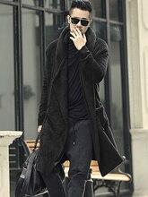 Winter Men's long black pockets plush shawl cardigan hooded jacket men cashmere soft warm slim European style cardigan new