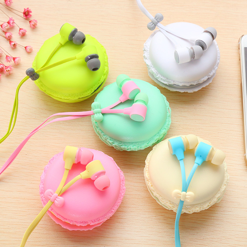 2018 Macarons Earphone For Girls In Ear Candy Color Macarons Earphones For iPhone6s Samsung Xiaomi Huawei MP3 MP4 Player macarons bz065