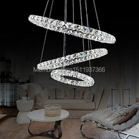 Free Shipping Led Crystal Pendant Modern Stylish Tricyclic Metal Plating