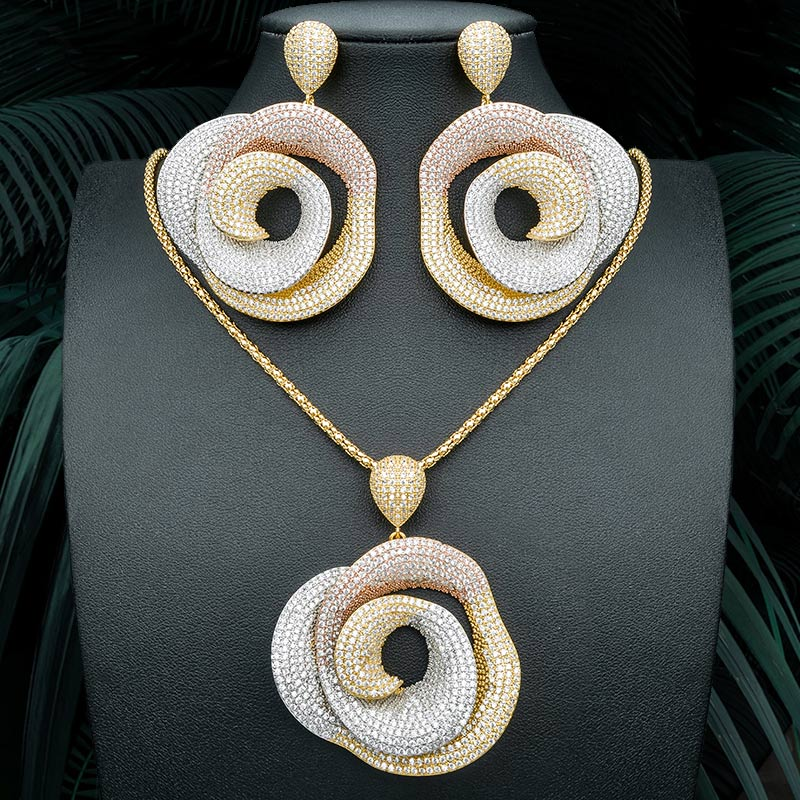 ModemAngel High Quality Geometry Round Pendant Necklace And Earring for Women Bridal Dress Wedding Elegant Jewelry