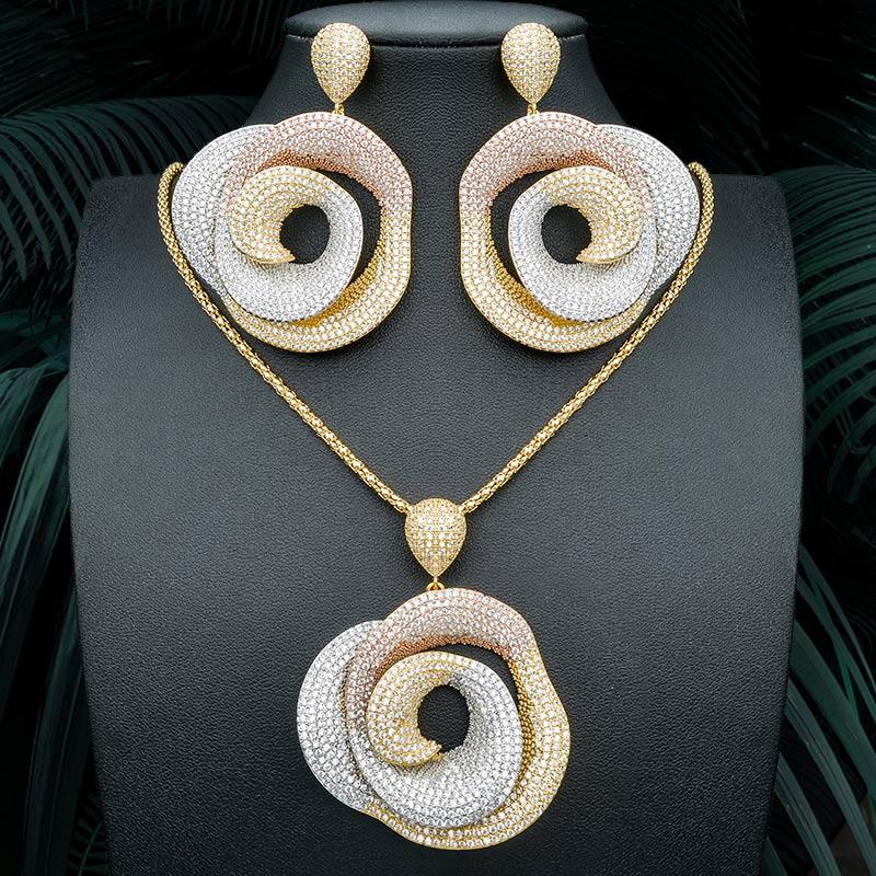 ModemAngel haute qualité géométrie ronde pendentif collier et boucle d'oreille pour les femmes robe de mariée mariage bijoux élégants