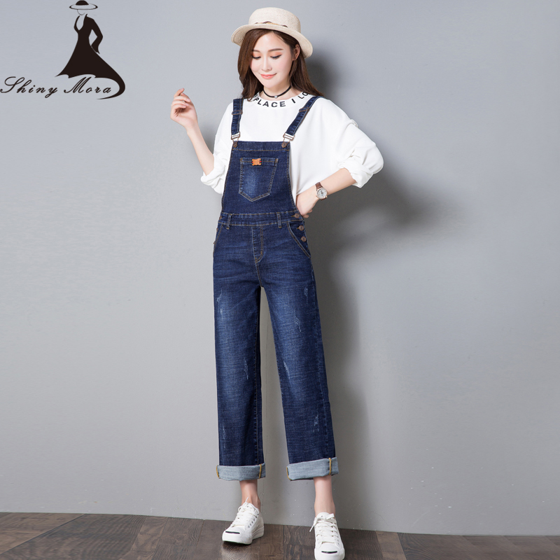 SHINYMORA Autumn Overalls for Women 2017 New Fashion Loose Jeans Pants Female Denim Jumpsuits Wide Leg Vintage Casual Jeans 323 2014 new fashion reminisced men vintage trousers casual jeans wash capris pants loose plus size overalls zipper denim jumpsuit