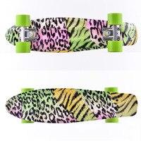 Free Shipping 22 inch fish skate board pastel banana printing board mini cruiser long skateboard four wheel street longboard
