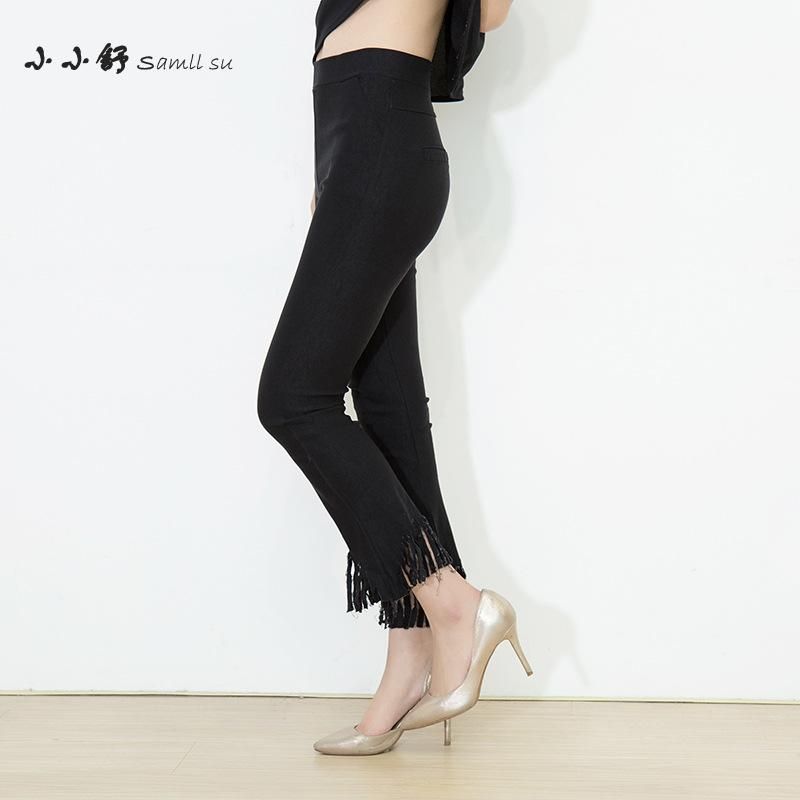 Malé letní letní střapce s vysoce elastickým pasem s odleskem v pasu Bandážové kalhoty pro ženy s dlouhým rukávem Pantalones Mujer Femme 2017