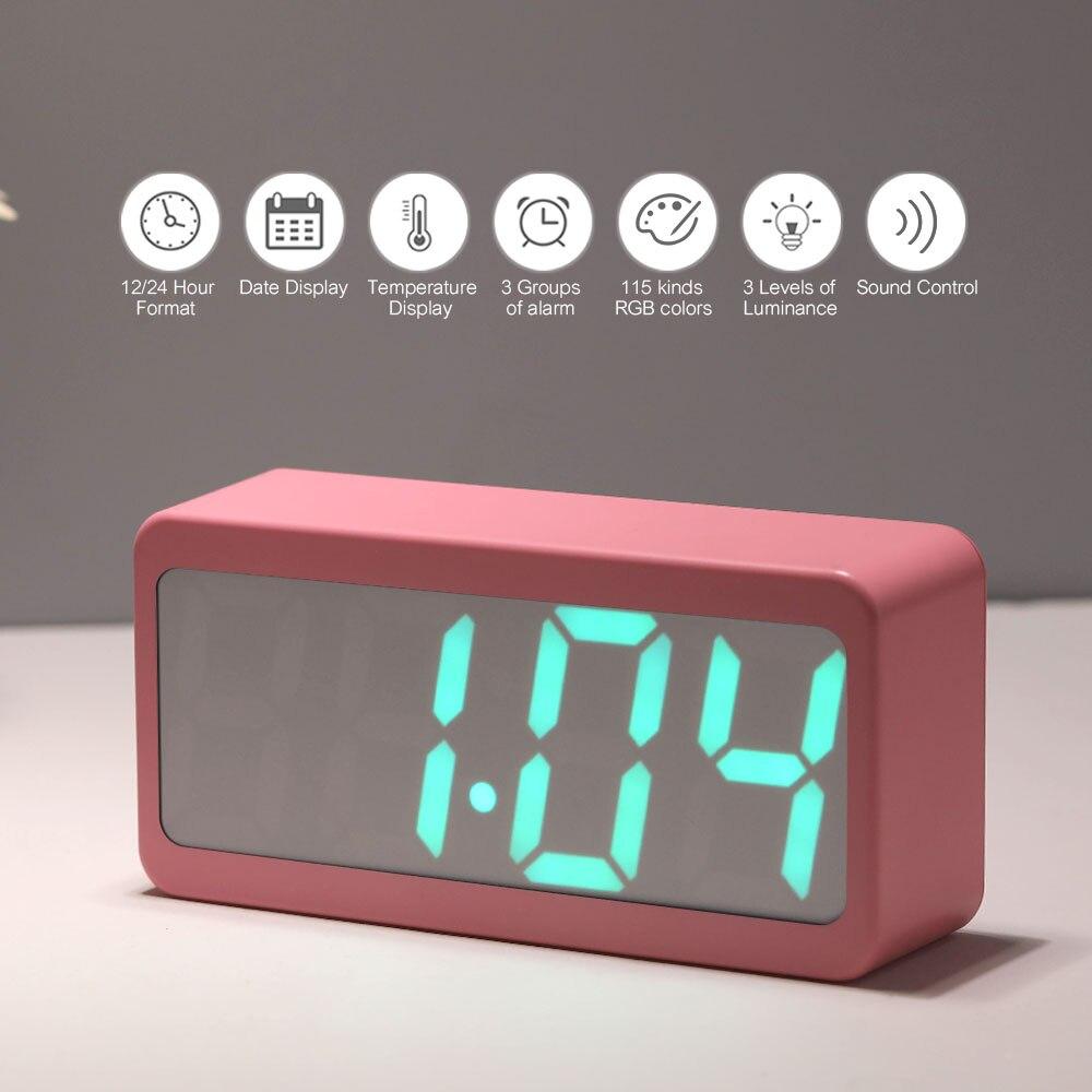 New USB Powered Mini Wooden Clock LED Digital Desktop Alarm Clock 3 Colors