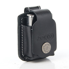 Free Shipping Genuine Leather Lighter Pouch Holder Case with Metal Belt Clip for Kerosene Oil Lighter winebottle shaped oil lighter with leather strap