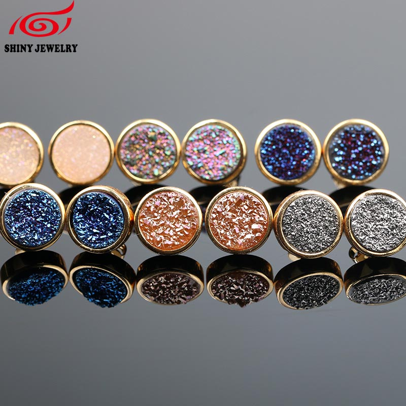 Women 10mm Quartz Druzy Stud Earrings Fashion Rainbow Round Natural Geode Druzy Drusy Stud Earrings Natural Stone Jewelry