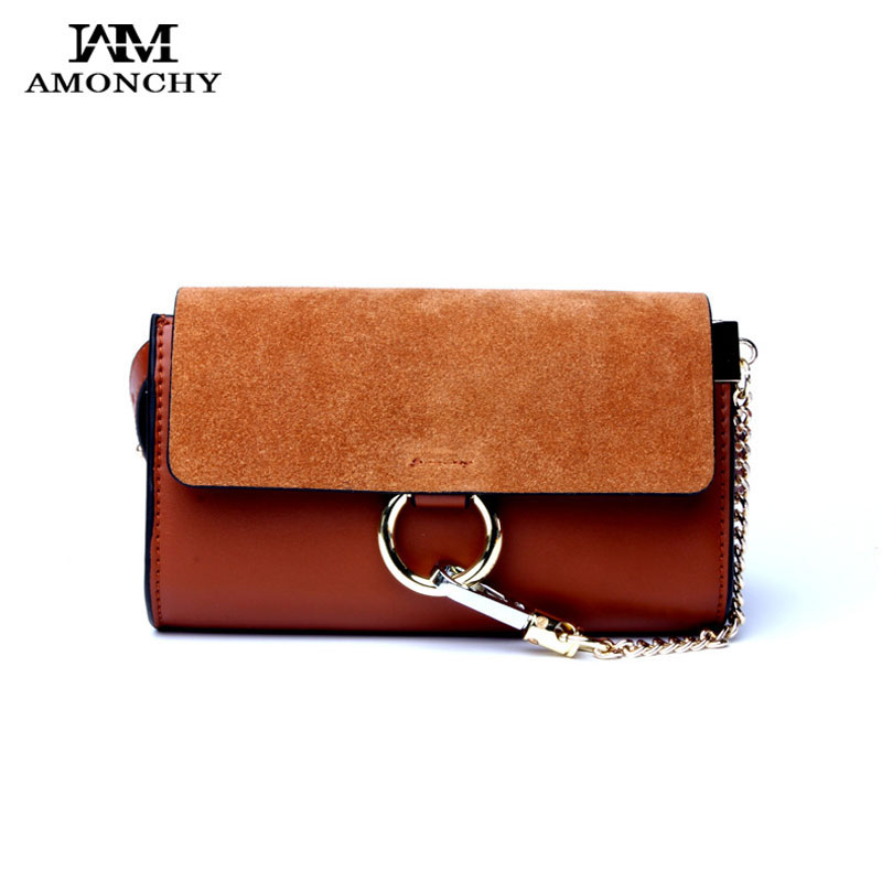 New Chains Women Messenger Bags 100% Genuine Leather Lady Handbag Clutch Retro Circular Ring Small Shoulder Bags Summer 2017 S68 2015 lady s fashion new arrival women s handbag 100% leather shoulder bags retro messenger bags free shipping