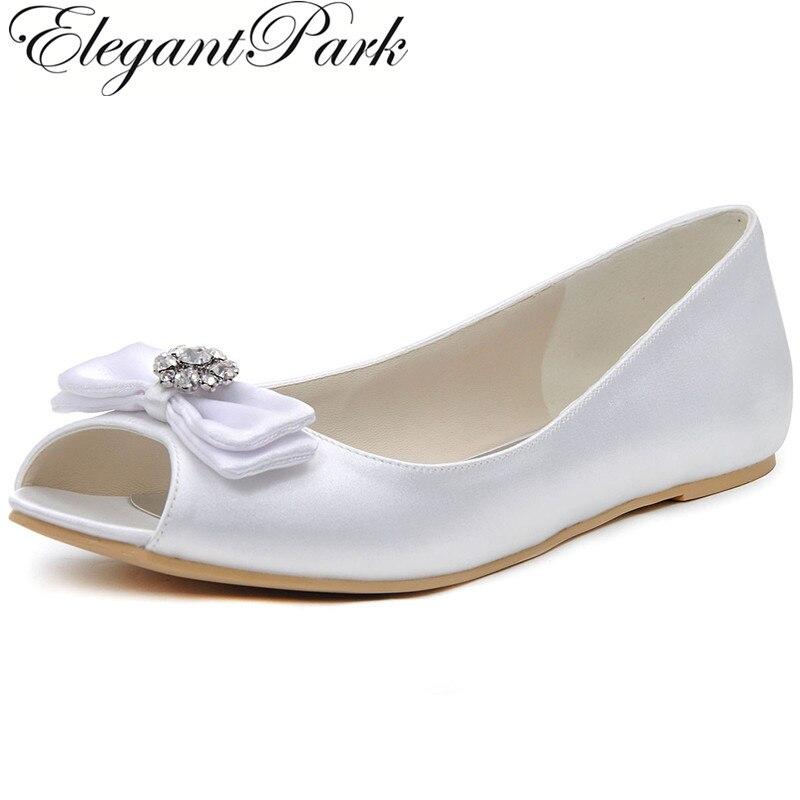 Elegant Woman wedding flats EP11102 White Ivory ladies Shoes Plus Size 12 Peep Toe Bow Rhinestone Satin Bridal Ballet