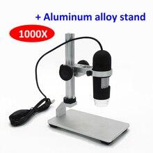 1000X цифровой USB микроскоп видео микроскоп USB эндоскоп камера Лупа 8 светодиодный свет алюминиевый сплав Стенд