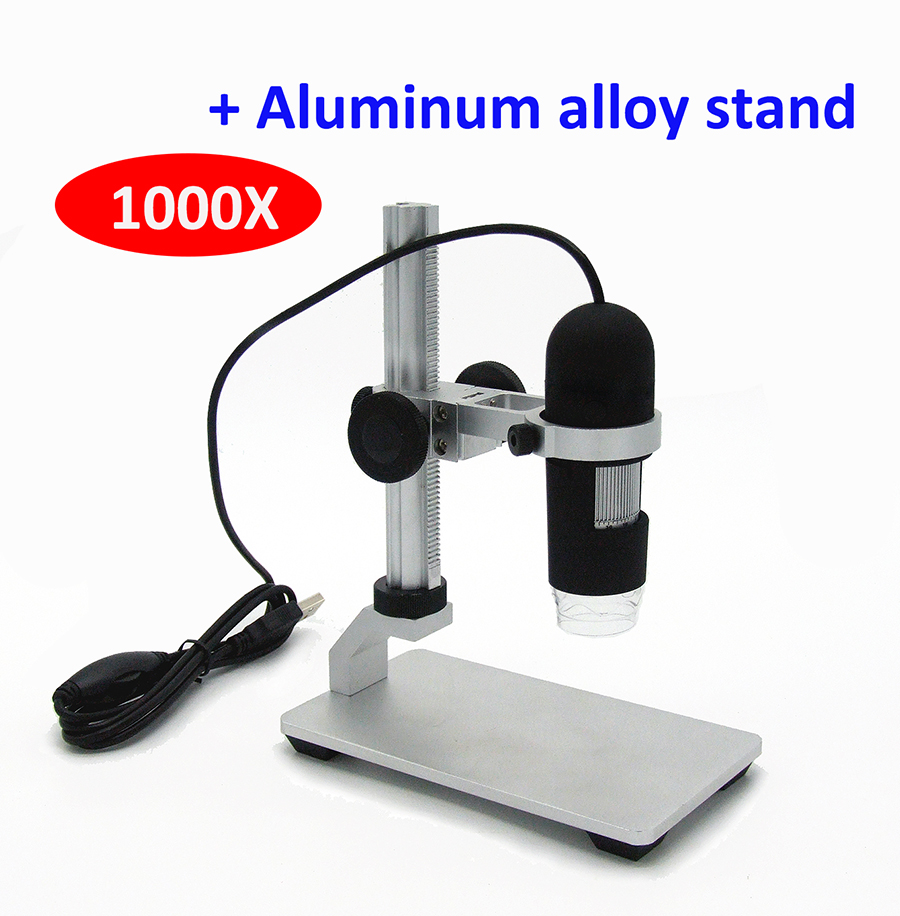 1000X digital USB microscope video microscope USB Endoscope Camera magnifier 8 LED lights Aluminum alloy stand 1 3mp 400x usb camera digital microscope 8 led lights with adjustable measurement software and metal stand