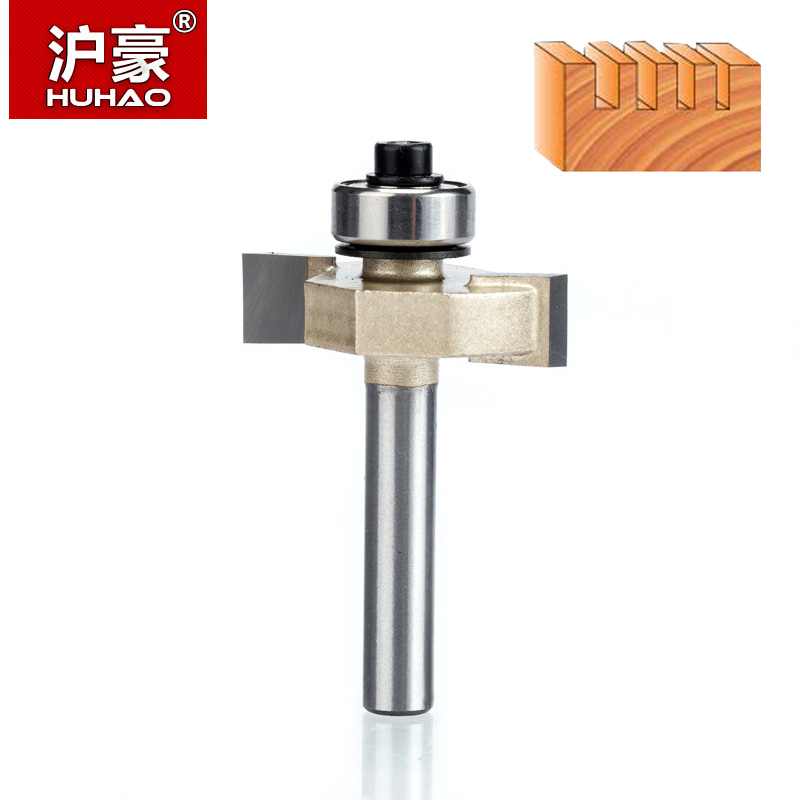 HUHAO 1pcs  1/4 Inch Rabbeting Bit With Bearings Woodworking Tool T Type Bearings Wood Milling Cutter Router Bits For Wood 1/4