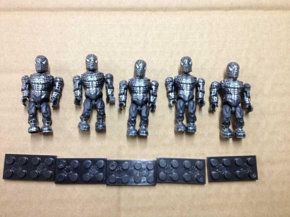 US $15 0  NEW LOT 5 PCS Mega Bloks MARVEL BLACK SUITED SPIDER MAN SANDMAN  BATTLING BLACK AMAZING brick Minifigure-in Action & Toy Figures from Toys &