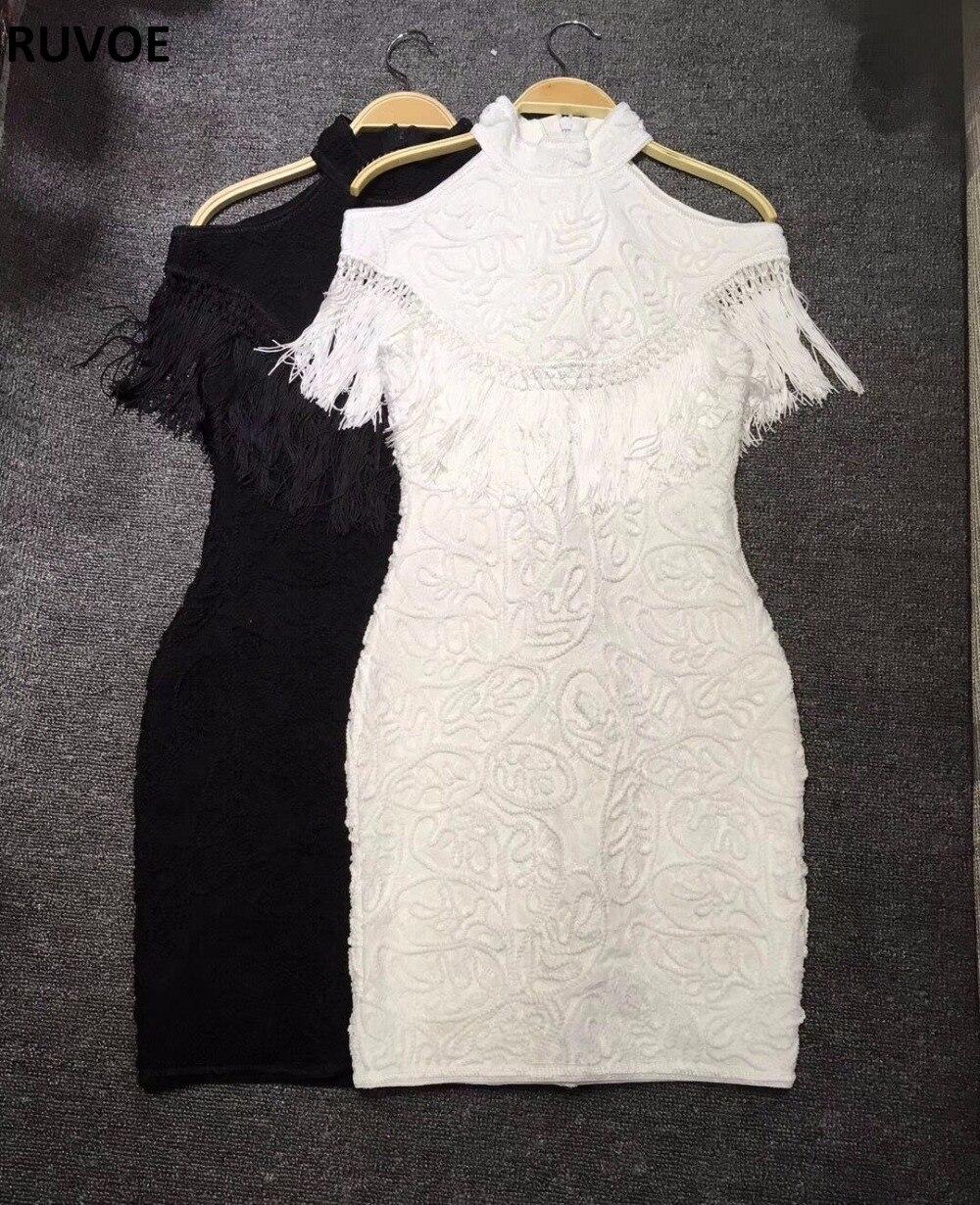 Gland De Noir Haute Cocktail Femmes Noir Mini 019 Blanc L'épaule Robe Rayonne Lz blanc Élégant Bandage Qualité Moulante PnwkXO80