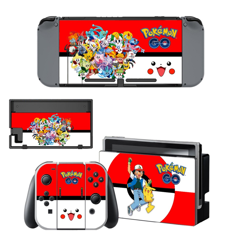 US $7 91 12% OFF|For Pokemon GO Pikachu Decal Vinyl Skin Sticker for  Nintendo Switch NS Console+Controller+Stand Holder Protective Film-in  Stickers