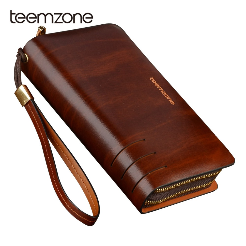 Teemzone 2018 New Layer Of Real Leather Mens Oil Wax Retro High-Capacity Multi-Card Bit Long Wallet Clutch Men Genuine S3316