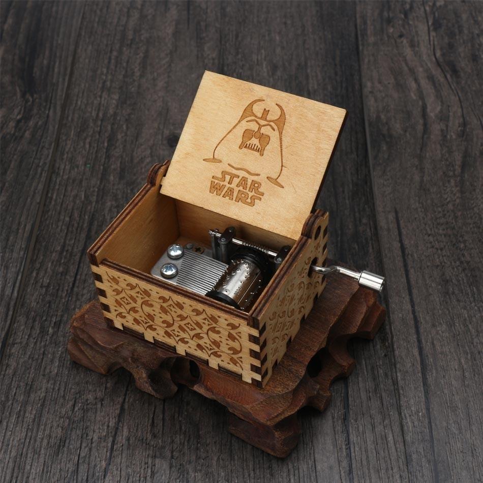 Прямая, деревянная музыкальная шкатулка ручной работы, рисунок Звездные войны, Juego De Tronos, рождественский подарок, подарок на год, подарок на день рождения - Цвет: 14
