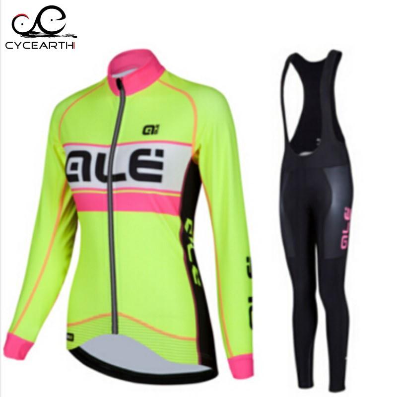 Prix pour ALE Femmes 2016 À Séchage Rapide respirant à manches longues jersey vélo vêtements Ciclismo VTT route sportwear bib pantalon set #84