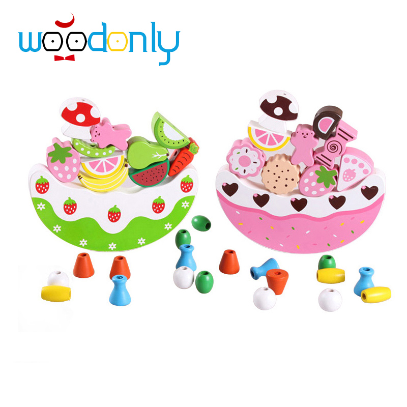 Fruit Cake Wooden Toys Jenga Learning Education Wood Blocks Beads Toy Baby Balance Board Game Building Kid Family oyuncak