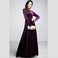 2016 Plus Size XXXL New Women Winter Dress V Neck Long Maxi Velvet Dresses Elegant Ladies
