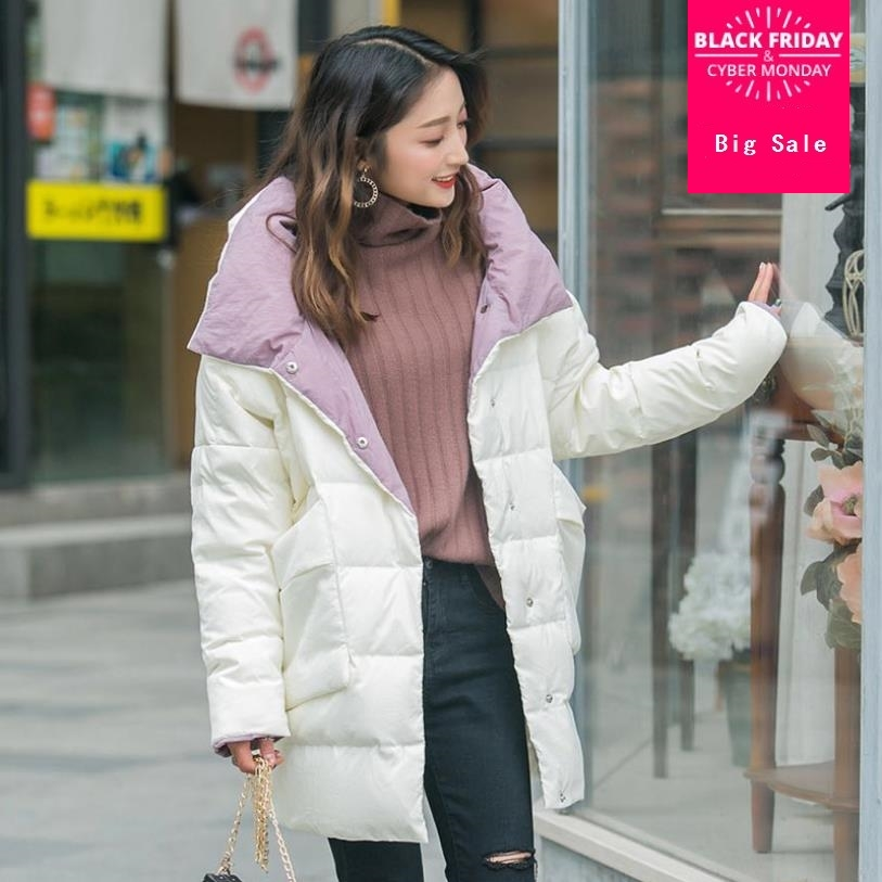 2019 Winter loose style good quality 80% real duck   down     coat   female hit color natural fur long warm   down     coats   wq1375 dropship