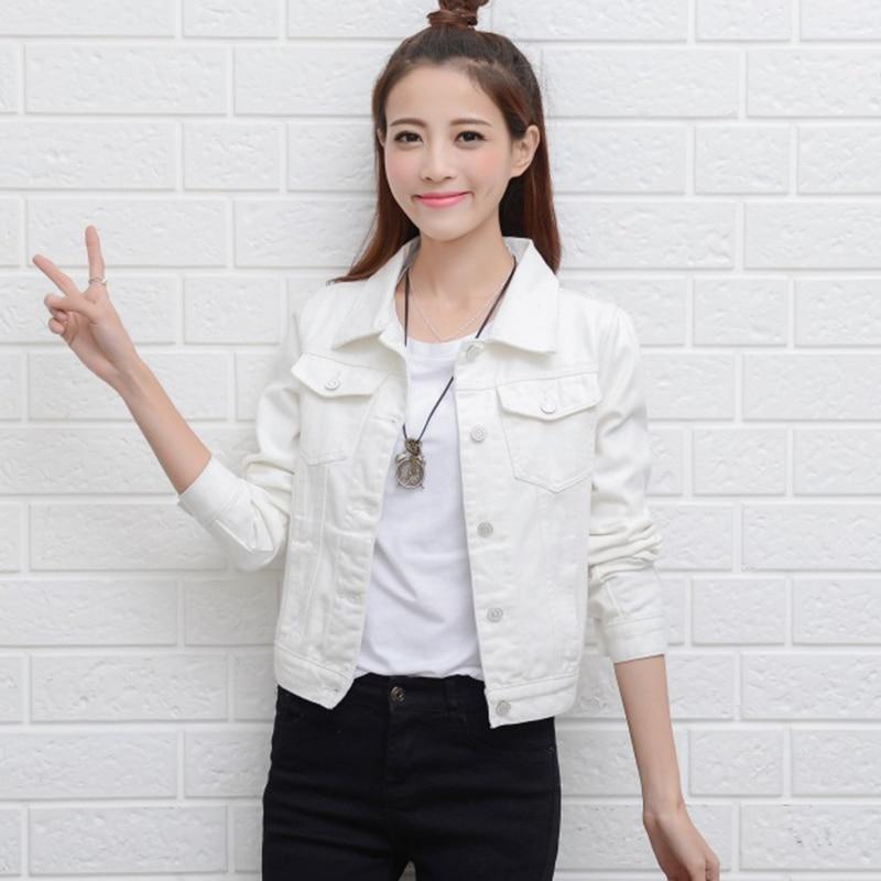 Bílá džínová bunda kabát žena 2017 jaro podzim dlouhý rukáv krátká bunda korejština velká velikost žena příležitostná kovbojské topy oblečení75