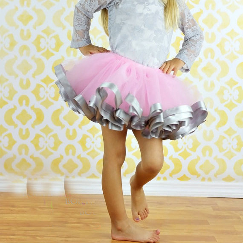 Hot-Girl-Tulle-Skirt-Ribbon-Trimmed-Tutu-Skirts-Fit-For-2-8years-ribbon-sewn-on-bottom-Pink-Girl-Dance-Party-Skirts-For-Girl-2