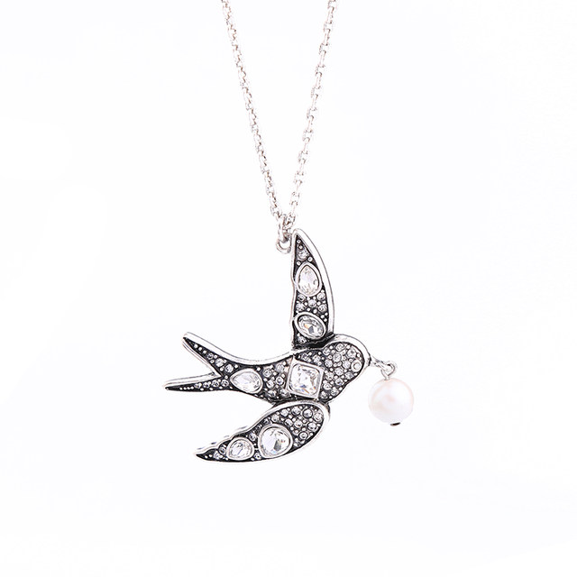 Online shop lovely jewelry simple thin chain necklace antique lovely jewelry simple thin chain necklace antique silver color crystal swallow pendant cute necklace for girls gifts mozeypictures Gallery