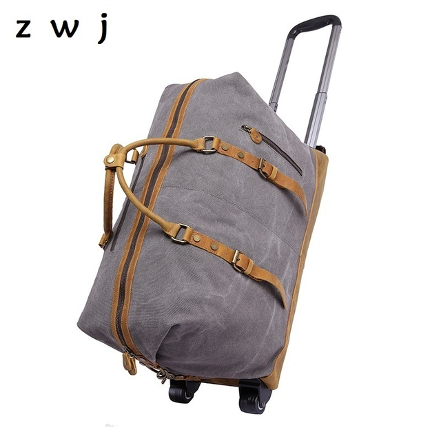 High capacity men large canvas luggage trunk trolley case suitcase on wheel cow leather travel bag