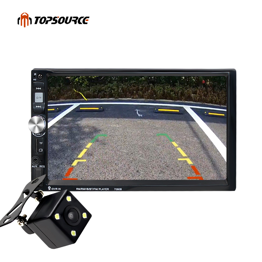 TOPSOURCE 7 Car Video Multimedia Player GPS HD Touch Screen FM Bluetooth Stereo Radio MP3 MP4 MP5 Audio USB + Rear View Camera niorfnio portable 0 6w fm transmitter mp3 broadcast radio transmitter for car meeting tour guide y4409b
