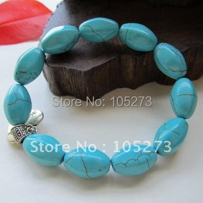 Charming! Beautiful Lovely Genuine Turquoise Bracelet 13x15mm 8'inchs Fashion Women's Jewelry Wholesale New Free Shipping FN2183