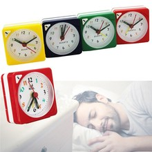 Charminer Mini Travel Alarm Clock Analogue Quartz Battery Operated With Snooze LED Light Trip Bed Compact Alarm Clock