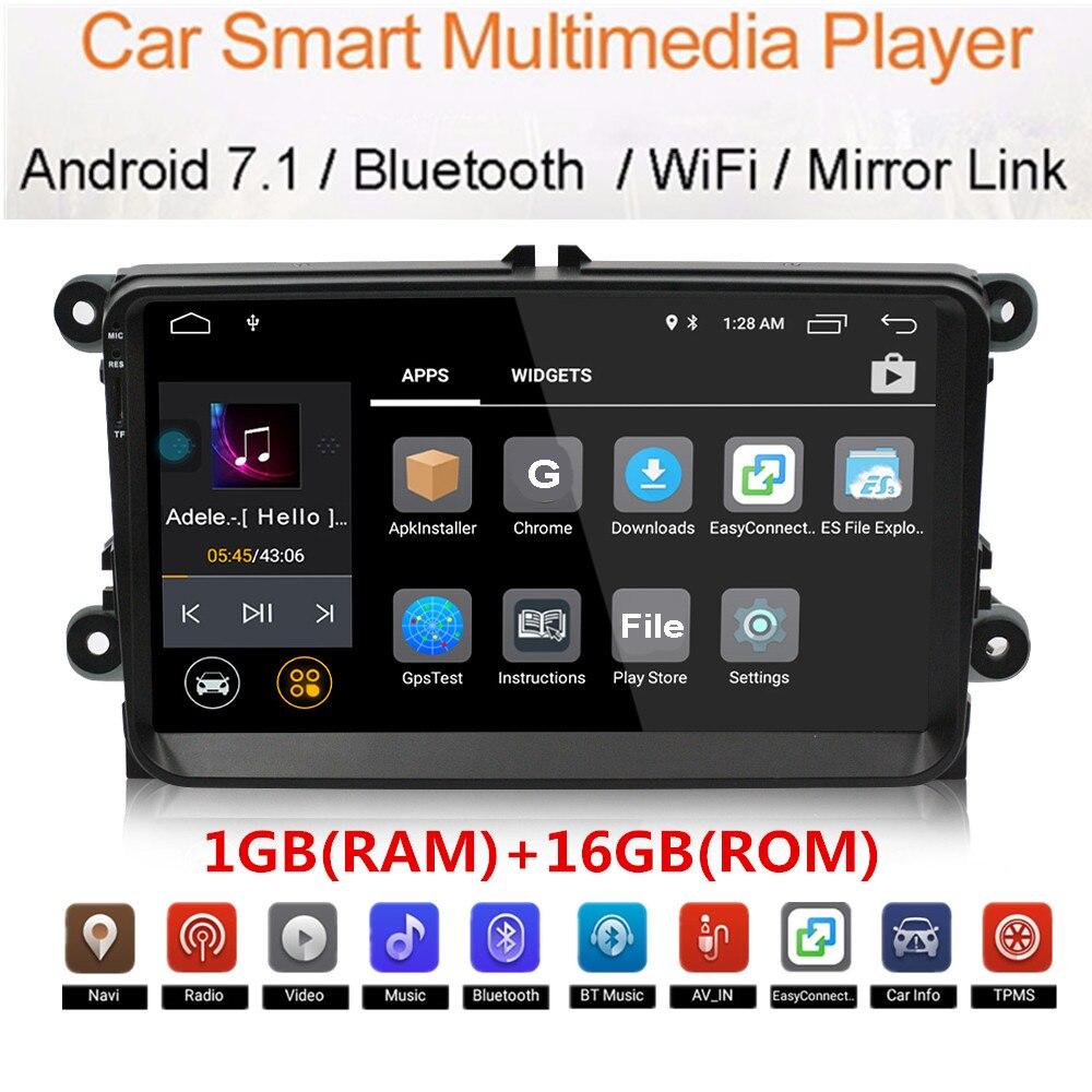 Universal Din 1 MP5 7 polegada Player Multimídia Rádio Do Carro da Tela de Toque Do Carro do Jogador para VW Veículo