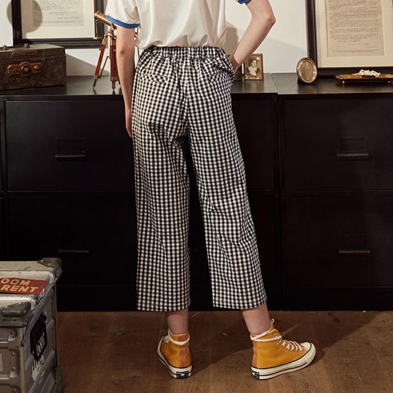 Fashion Design Plaid 2018 Elastic Waist Women Straight Pants Capris Cartoon Print Belt Calf Length Pants Summer Preppy Style 2