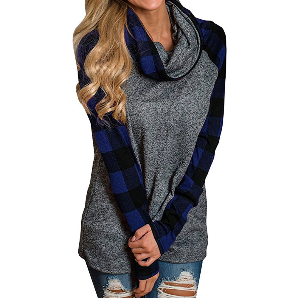 Lattice Long Sweatshirts Sacrf Collar Long Sleeve Plaid womens casual patchwork pullover Sweatshirt Tops felpe donna EY11