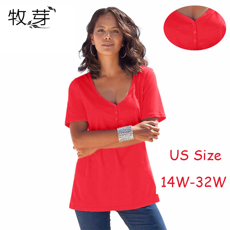 PLUS SIZE Women Clothing T Shirt Women V-Neck Big Size T-Shirts Sweetheart Neck Ultimate short sleeves Tees US SIZE L-4XL