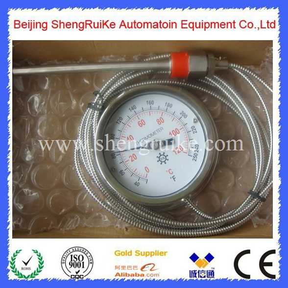 4 inch Capillary Remote bimetal thermometer ,SS304, 0 C to 120C remote bimetal thermometer with capillary dial 3