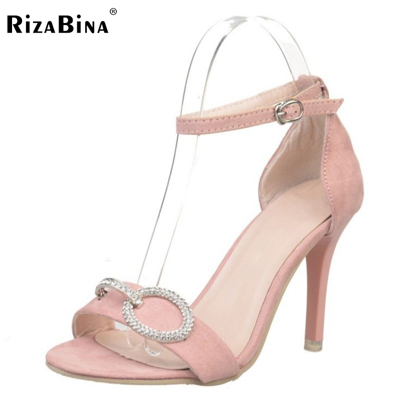 Female New High Heel Sandals Ankle Strap Thin Heels Shoe Open Toe Rhinrstone Shoes Women Sexy Party Fashion Footwear Size 34-39 women brands shoes evening high heels black patent leather sandals open toe thin heel sexy party shoes new arrival 2017 handmade