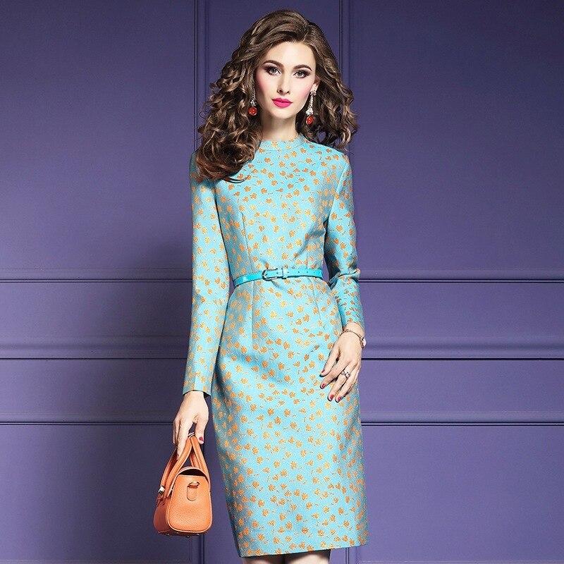 Crayon imprimer bureau dame robe printemps 2019 nouvelle qualité supérieure femmes genou longueur robe de soirée grande taille hiver Vintage robes