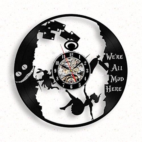 alice au pays des merveilles disque vinyle horloge murale th fou horloge chiffres arabes laser. Black Bedroom Furniture Sets. Home Design Ideas