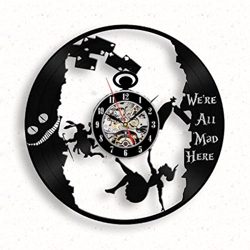 Alice In Wonderland Vinyl Record Wall Clock Mad Tea Party