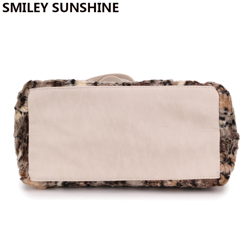 e49a0a4b93f SMILEY SUNSHINE leopard faux fur women shoulder bag big tote bag ladies  purses and handbags female winter hand bags bolsos mujer-in Shoulder Bags  from ...