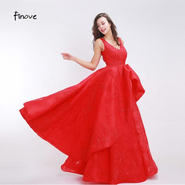 Backless Red Lace Prom Dress