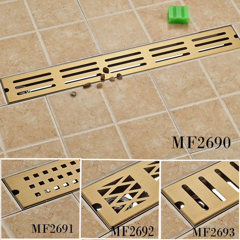 Gold-plated Bathroom Shower Floor Drain 70cm Large Flow Floor Waste Grid Drain wall drainage large traffic stainless steel 30cm bathroom surface titanium gold floor drain big flow rate refuse nasty smell
