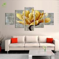 אופנה זהב ציור שמן ממוסגר 5 יחידות בד תמונות סחלב פרחי ציור קיר אמנות סלון דקורטיבי מודולרי תמונה