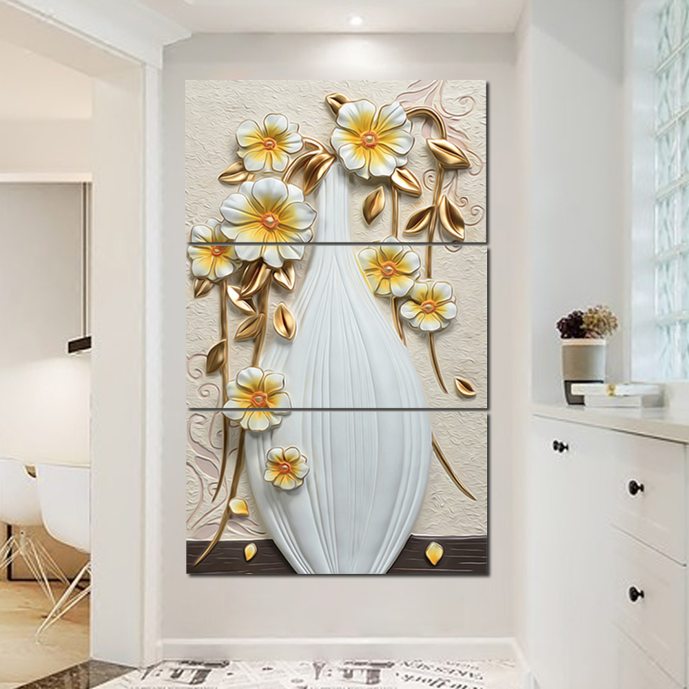 Unframed 3 HD Watercolor Canvas Painting Cameo Vase Flower Living Room Bedroom Decorative Painting Unframed Free Shipping