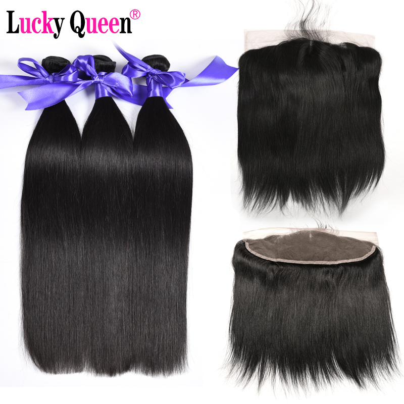 Lucky Queen Hair Brazylijski proste wiązki włosów z koronką - Włosy ludzkie (na czarno)