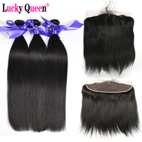 Brazilian straight Hair Bundles With Lace Frontal 100% Human Hair Bundles With Frontal Non Remy Hair Extensions Lucky Queen Hair