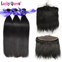 Lucky Queen Brazilian straight Hair 3 bundles  Human Hair Bundles With Lace Frontal  Non Remy Hair Extension